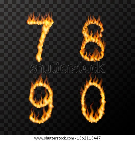 Bright realistic fire flames in 7 8 9 0 letters shape, hot font concept on transparent Stock photo © evgeny89