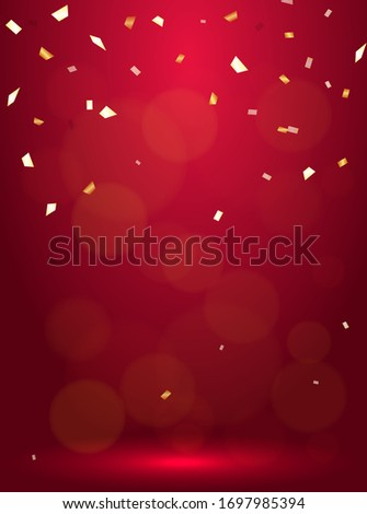 Luxury vertical background with bright golden serpentine, confetti and balloons Stock photo © evgeny89