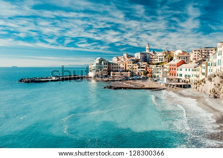 Mediterranean coast and cloudy sky, beautiful panoramic sea view and coastal nature Stock photo © Anneleven