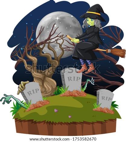 Witch jazda konna kij niebo grób odizolowany Zdjęcia stock © bluering