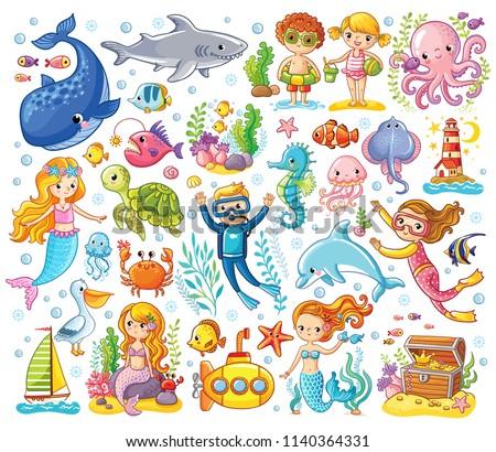 набор морских животных русалка Cartoon стиль морем Сток-фото © bluering