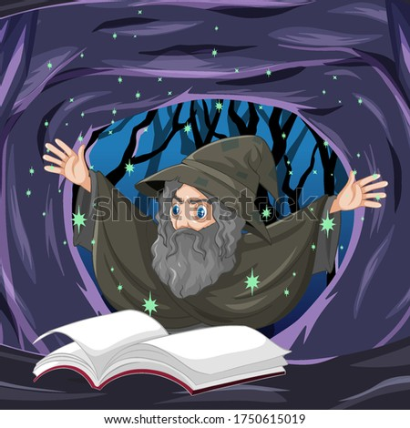 Old wizard with spell and book cartoon style on dark cave backgr Stock photo © bluering