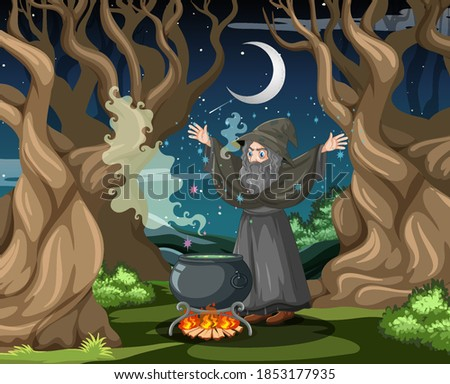 Witch with black magic pot cartoon style on dark forest backgrou Stock photo © bluering