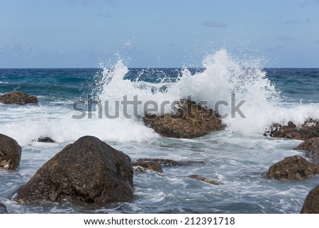 Dalgalar okyanus kıyı madeira ada Portekiz Stok fotoğraf © boggy