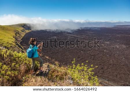Turista kirándulás vulkán kráter sziget elvesz Stock fotó © Maridav