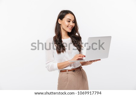 gelukkig · vrouw · internet · laptop · portret · vergadering - stockfoto © dacasdo