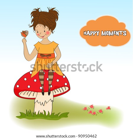 pretty young girl sitting on a mushroom and talking to a little bird Stock photo © balasoiu