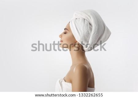 Portré nő haj törölköző stúdió ház Stock fotó © wavebreak_media