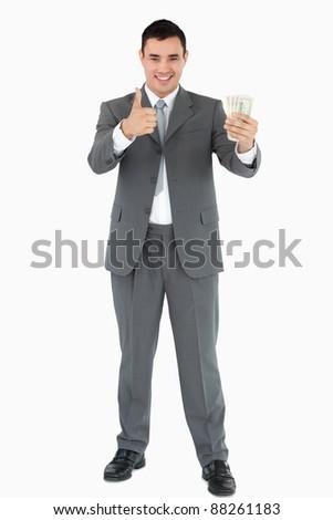 Stock fotó: üzletember · bankjegyek · hüvelykujj · felfelé · fehér · üzlet