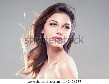 魅力的な 笑顔の女性 美 長い 茶色の髪 暗い ストックフォト © Victoria_Andreas