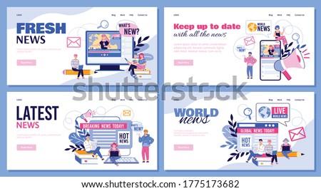 Notícia internet telefone móvel fresco página telefone Foto stock © kolobsek