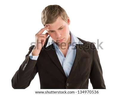 An aggravated businessman trying to keep it together - Isolated  Stock photo © HASLOO