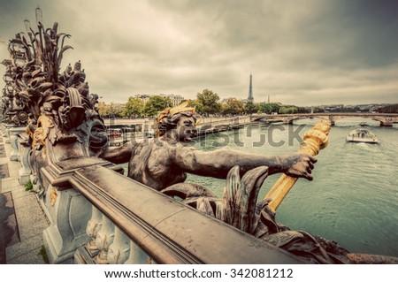 Eyfel · Kulesi · artistik · heykel · köprü · nehir · Paris - stok fotoğraf © photocreo