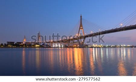 bhumibol huge industrial bridge at dusk in samut prakarn bangkok stock photo © tungphoto