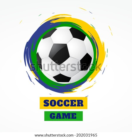 Soccer Beautiful Ball With Brazil Colors Grunge Background Vecto Stockfoto © PinnacleAnimates