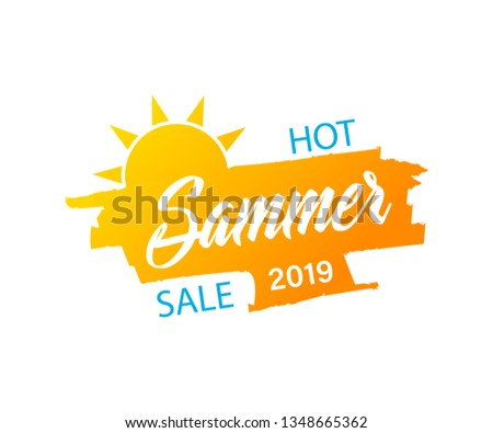 special summer offer with sun sign yellow and orange drawn labe stock photo © marinini