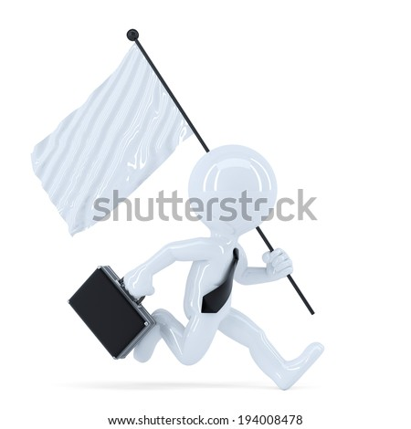 businessman running with flag isolated contains clipping path stock photo © kirill_m