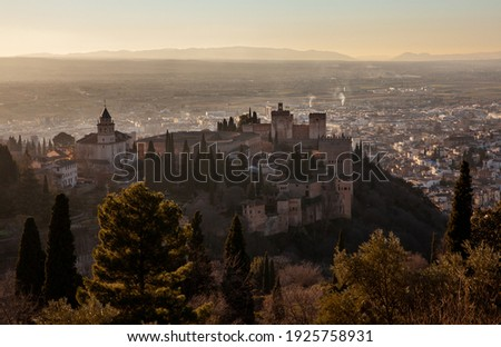 Granada Cityscape Wall Buldings Green Mountain Andalusia Spain Stock photo © billperry