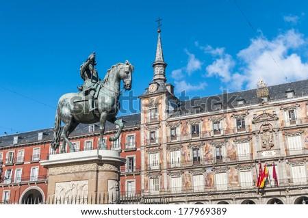 царя статуя Cityscape Мадрид известный Сток-фото © billperry