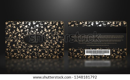 vip member badge on black card with floral pattern vip composed from small diamonds stock photo © liliwhite
