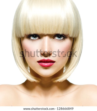 Blond bob hairstyle. Beauty portrait of fashionable girl model p Stock photo © Victoria_Andreas