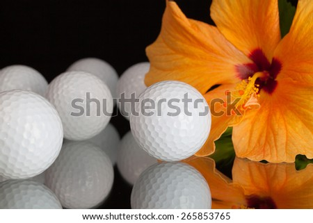 Stockfoto: Oranje · hibiscus · bloem · golf · glas