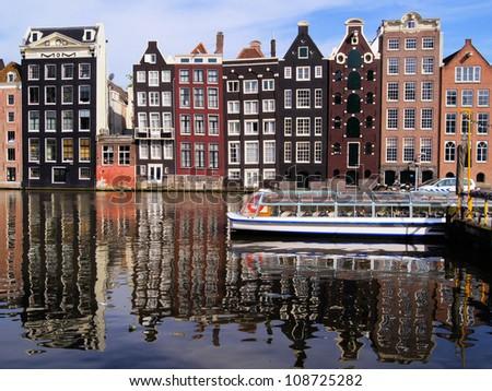 Víz csatorna városnézés turizmus csónak Amszterdam Stock fotó © anmalkov