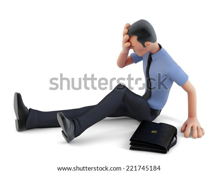 depressed businessman sitting on the floor 3d illustration contains clipping path stock photo © kirill_m