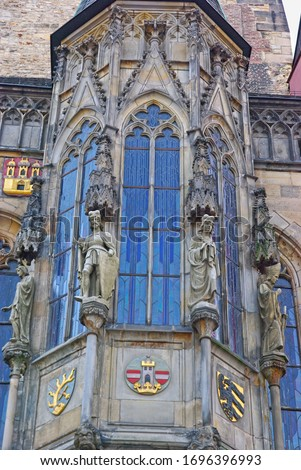 closeup of prague town hall window with sculptures czech republic stock photo © mariusz_prusaczyk