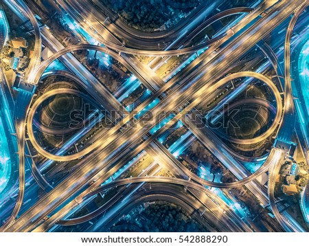 aerial view of traffic junction and transportation road in city, Stock photo © FrameAngel