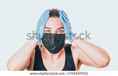 mulher · jovem · dedo · avental · cozinha · comida - foto stock © ambro