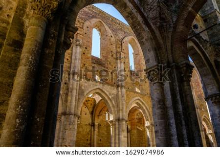 Internal view of the ruins of Medieval San Galgano Abbey near Siena, Italy Stock photo © bubutu