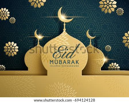 mosque design on golden glitter, eid mubarak greeting background Stock photo © SArts