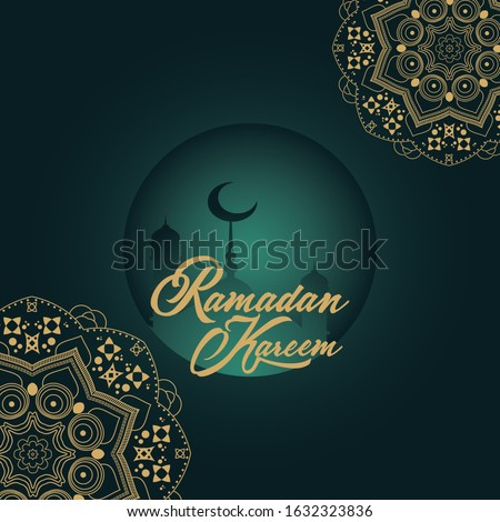 ramadan kareem greeting with moon, mosque and mandala decoration Stock photo © SArts