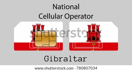 Gibraltar mobile operator. SIM card with flag. Vector illustration. Stock photo © Leo_Edition