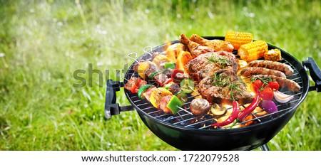 barbecue · étel · finom · sült · hús · nyár - stock fotó © racoolstudio