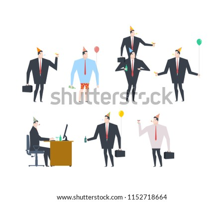 Businessman at party set. Celebratory cap and Party horn. balloo Stock photo © MaryValery