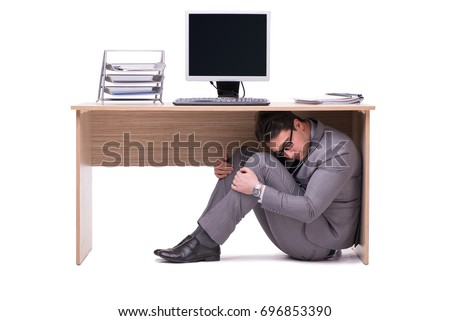 Businessman scared under table from stress. frightened boss unde Stock photo © popaukropa