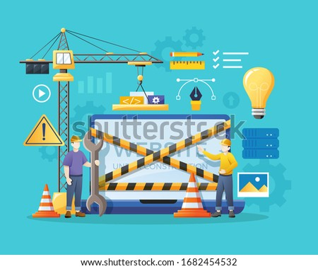 Error 404. Site is on maintenance. Service team is repairing pag Stock photo © popaukropa