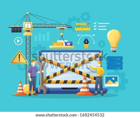 Stockfoto: Fout · 404 · plaats · onderhoud · dienst · team