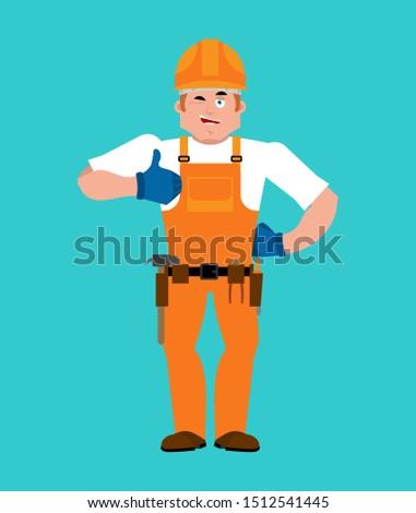 Builder thumbs up. Worker in protective helmet winks emoji. Serv Stock photo © popaukropa