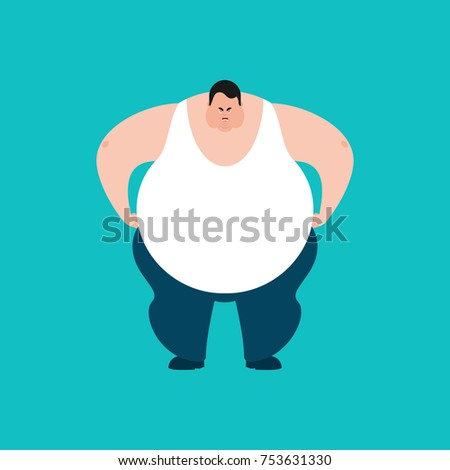 fat angry stout guy evil emoji big man aggressive vector illu stock photo © popaukropa