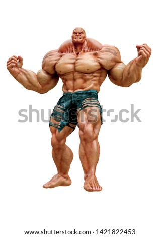 Monster BODYBUILDER on a white background. Monster with big musc Stock photo © popaukropa