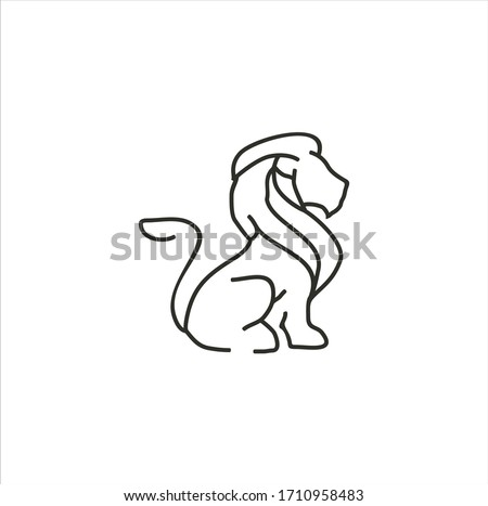 lion head   icon silhouette abstract isolated on a white backgro stock photo © nikodzhi