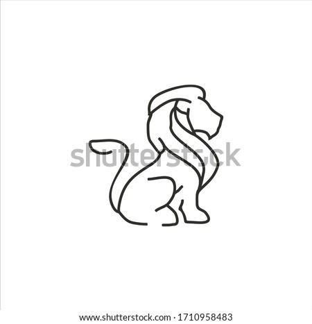 лев · голову · домой · знак · черного · и · белого · вектора - Сток-фото © nikodzhi