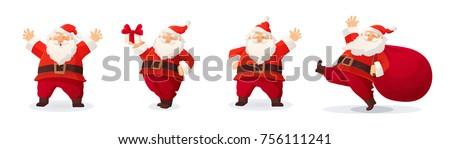 Kerstman gelukkig zak geschenk handen vector Stockfoto © NikoDzhi