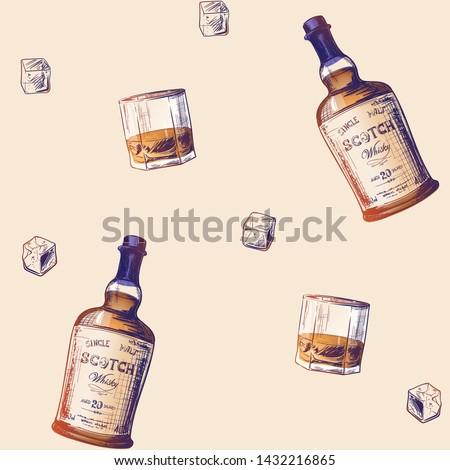 Bottle Scotch seamless pattern. Glass of whiskey and ice ornamen Stock photo © popaukropa