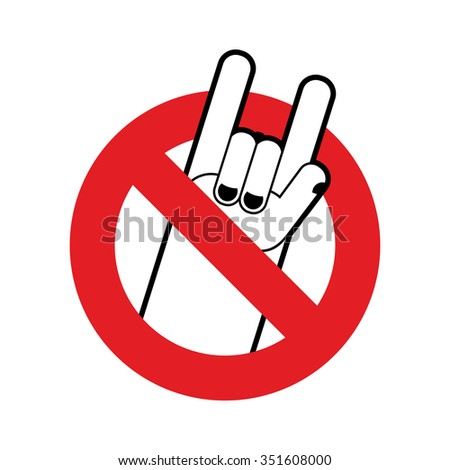 Stop rock. Ban for lovers of rock music. Red forbidding characte Stock photo © popaukropa