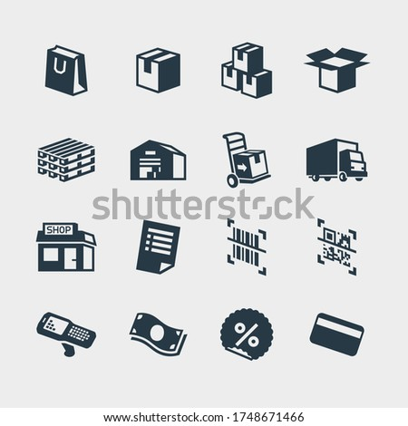 Set of icons money and goods. Shipping, logistics, unloading car Stock photo © popaukropa