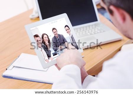 extreme close up of female finger using digital tablet computer stock photo © stevanovicigor